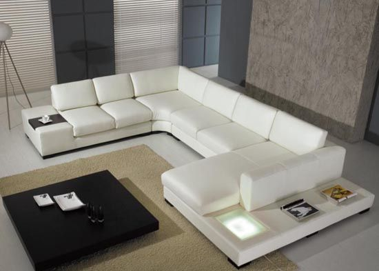 Sectional Sofas The Ultra Modern White Leather Sectional Sofa