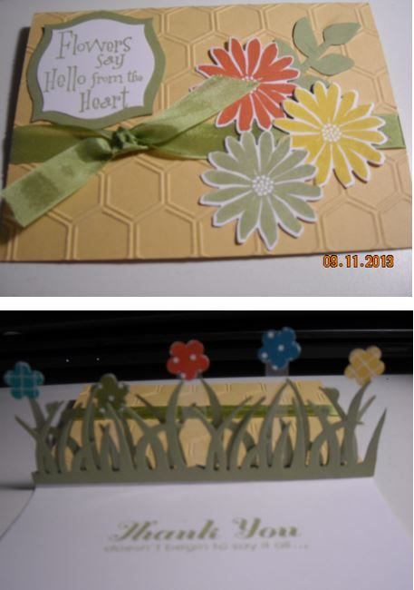 found this floating popup tutorial and it really is not hard!  I used strips of clear plastic cut from those horrible electronic cases for the flowers to pop up. here is site where Julie demonstrate how to do this. Note, the saying is not SU but the rest is. http://juliedavison.blogspot.com/search/label/tutorials