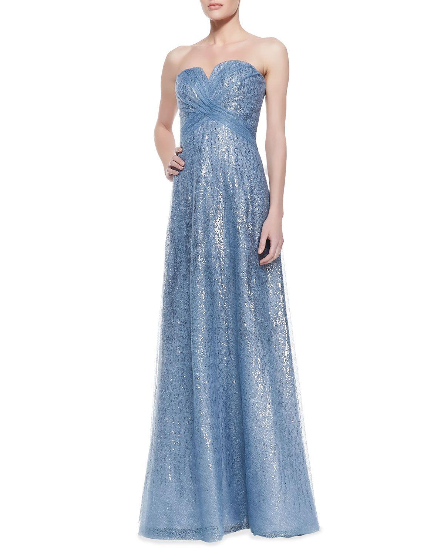 Rene Ruiz Strapless Metallic Overlay Gown, Icy Blue - Neiman Marcus ...