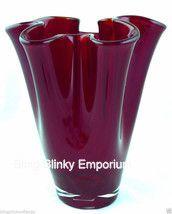 #RubyRed Vase Pinched Stretched #ArtGlass Made in #Poland - #Polish Import #RedGlassVase #BlingBlinkyEmporium