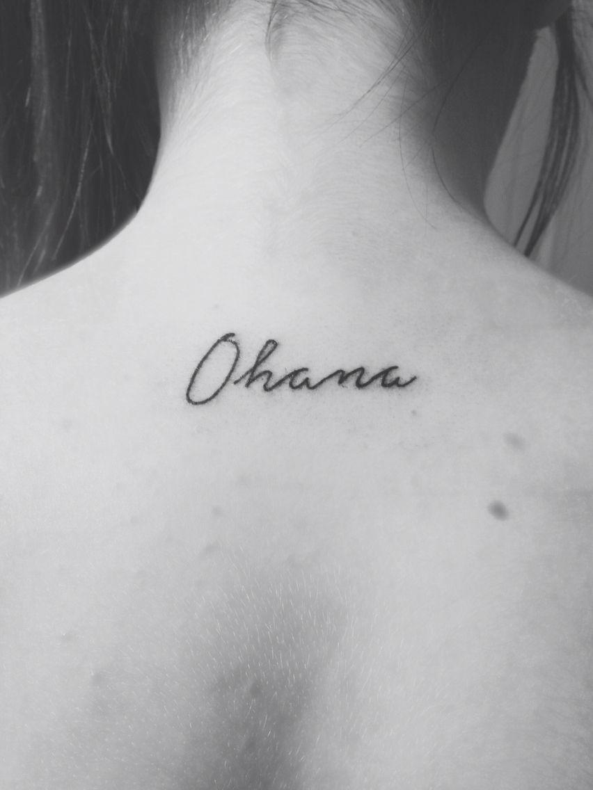 ae4e07d8e #ohana #lilo and stitch #tattoo #black and white #neck tattoo #back tattoo…  #necktattoosdesigns