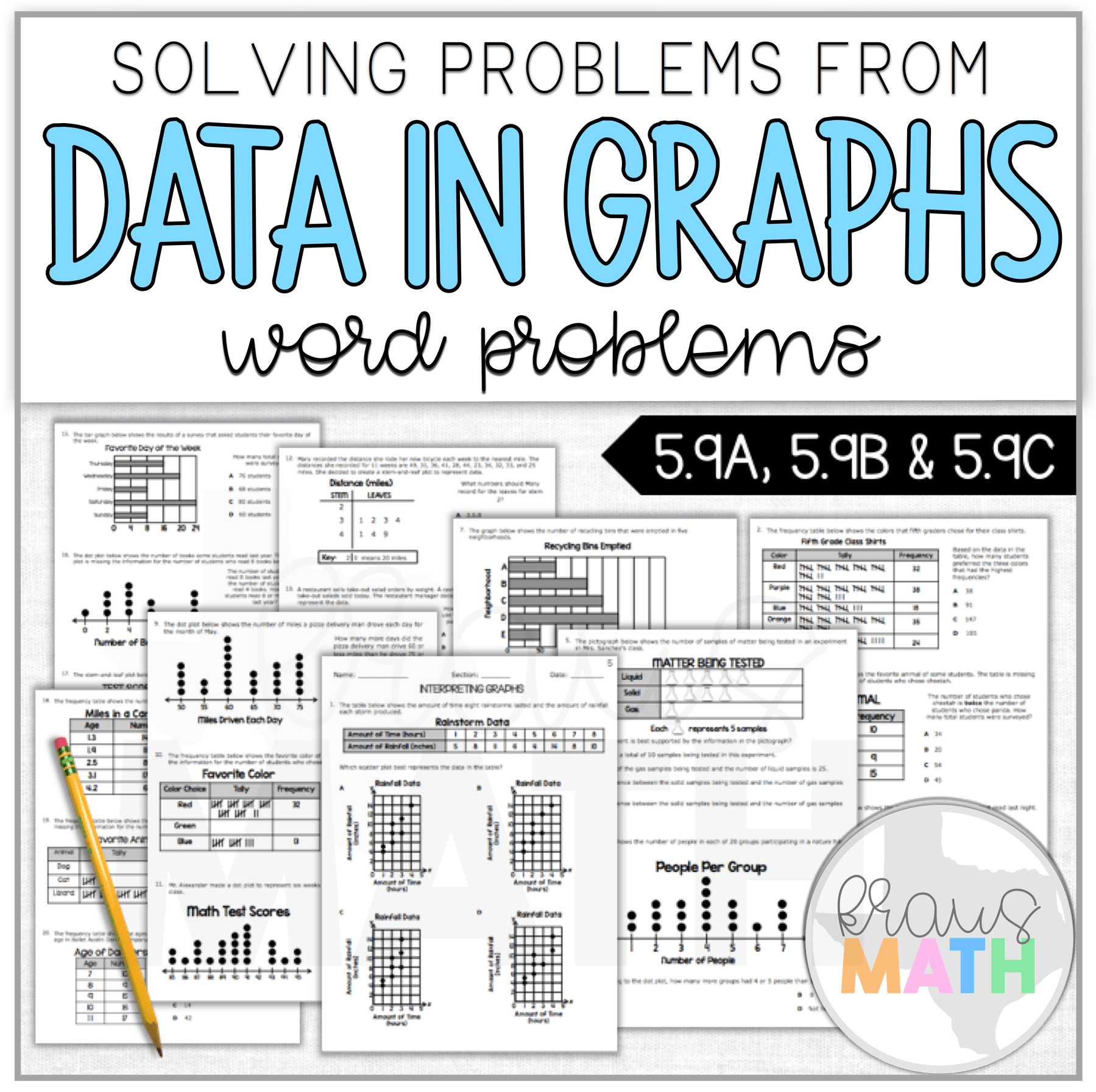 5th Grade Math Data In Graphs Staar Worksheet Teks 5 9a