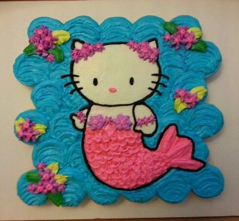 Hello Kitty Mermaid cupcake cake.