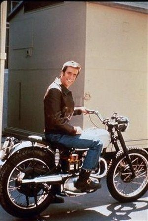 """1949 Triumph Trophy TR5 Scrambler Custom ridden by The Fonz in """"Happy Days"""".  Built by Bud Ekins from an old Triumph in his collection - he simply removed the front fender, replaced the handle bars and spray painted the tank silver."""