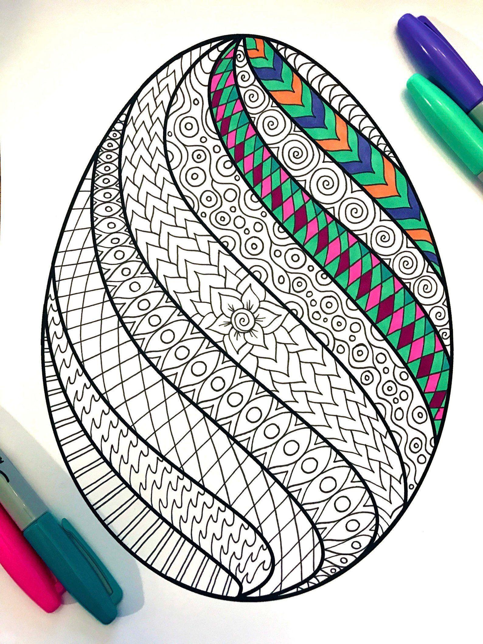 Swirl Easter Egg Pdf Zentangle Coloring Page Etsy Easter Design Drawing Swirl Easter Egg Pdf Zentangl Ostereier Farben Ostern Zeichnung Ostern Grundschule