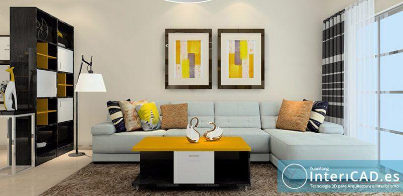 Decorar el salón con Software de Interiorismo - InteriCAD.es – ¿Quieres saber como Decorar el salón con Software de Interiorismo? En este salon han combinado la madera oscura del wengue con un color naranja.
