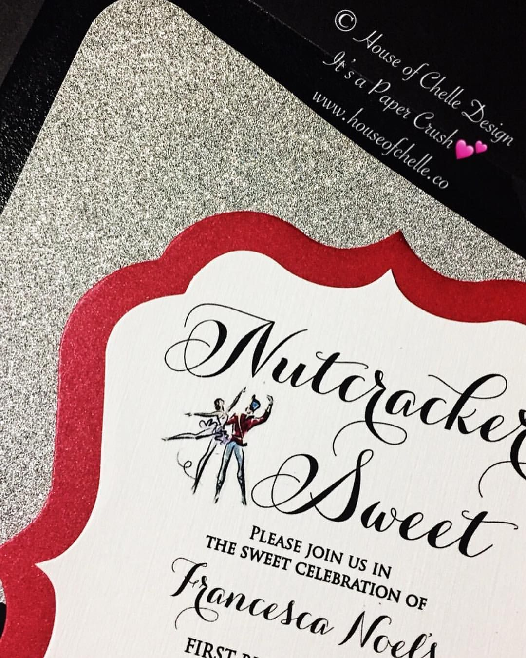 1st Birthday Invitation Nutcracker Sweet Themed With A Red Shimmer