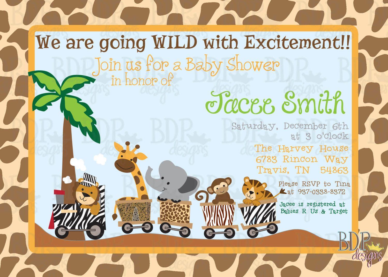 safari express jungle train baby shower invitation  customized, invitation samples