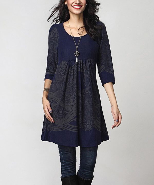 c8332346242 Look at this Navy Cloud Empire-Waist Tunic Dress on #zulily today ...