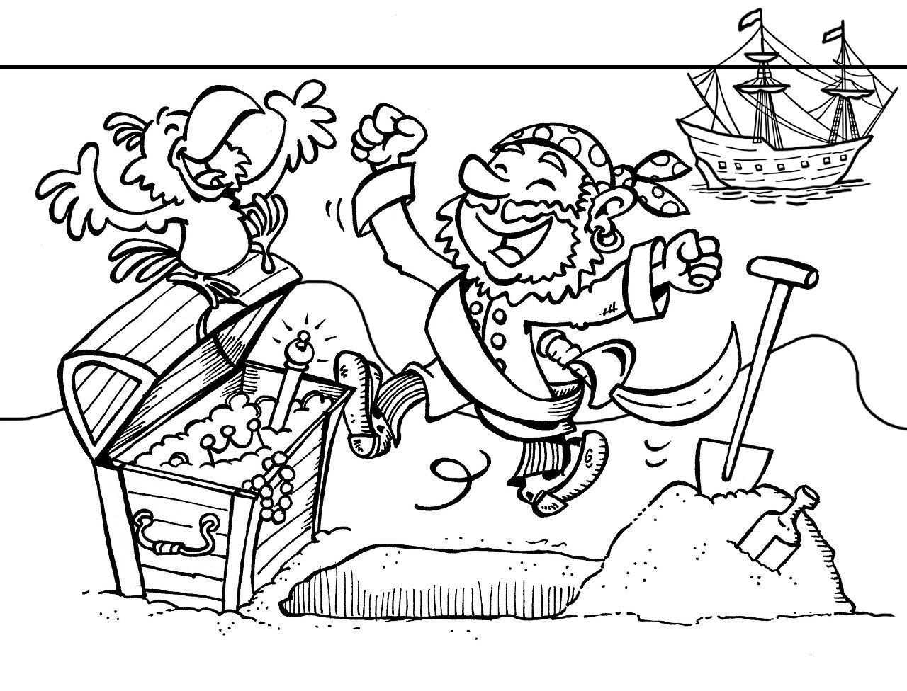 Deze Piraat Heeft Een Schat Gevonden Een Grote Schatkist Vol Met Goud En Zilver Kleur Jij Deze Piraten Kleurplaat In Piraten Kinderkleurplaten Piratenschat