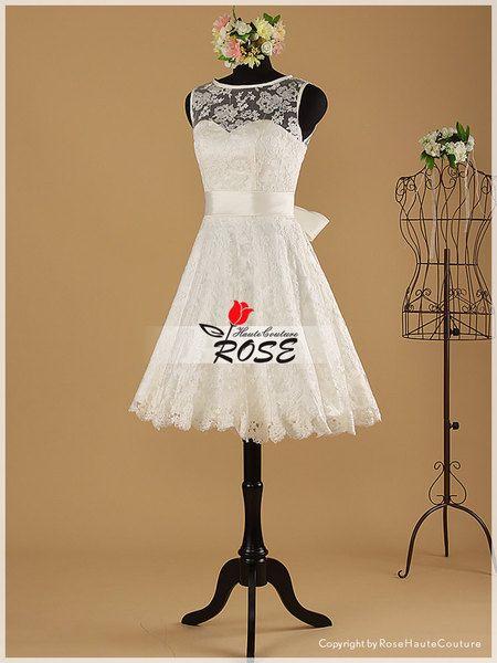 Knee Length Sweetheart Neckline Lace Wedding Dress from RoseHauteCouture by DaWanda.com