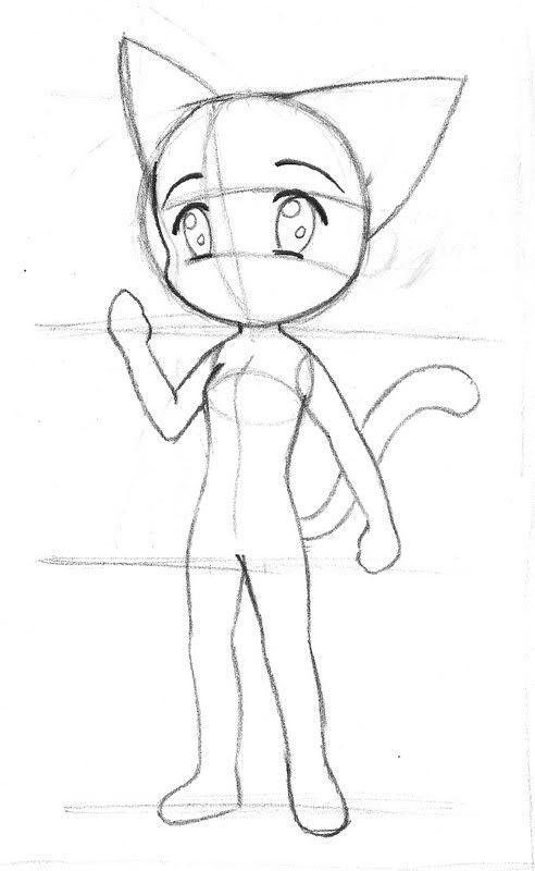 Картинки для срисовки женщина кошка аниме чиби