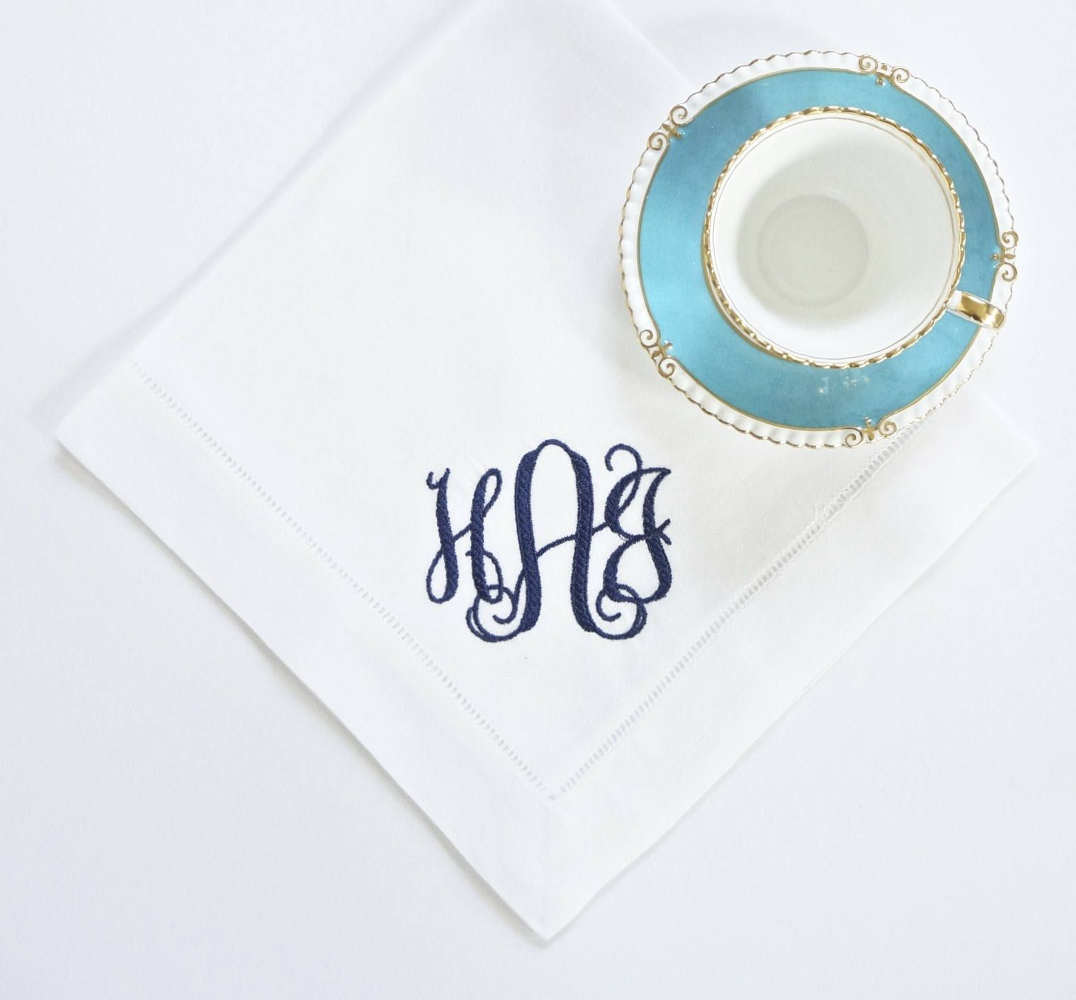 Embroidered Towels For Wedding Gift: Scroll II Monogram Embroidered Dinner & Cocktail Napkins