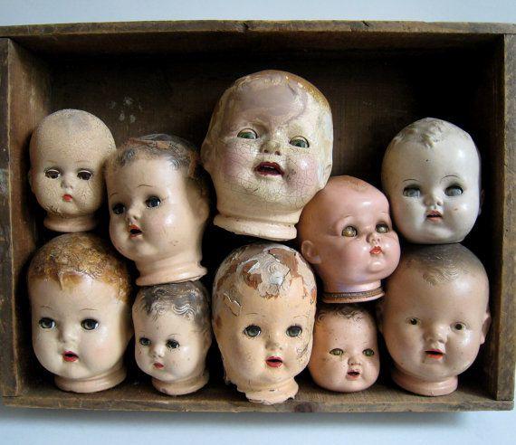 Various Vintage Creepy Doll Heads Wood Display By