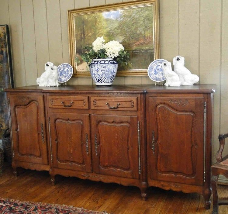 Antique French Country Buffet Sideboard Louis Xv Cabinet Carved Dark Oak Frenchfrenchcountry Craftsmenoftra