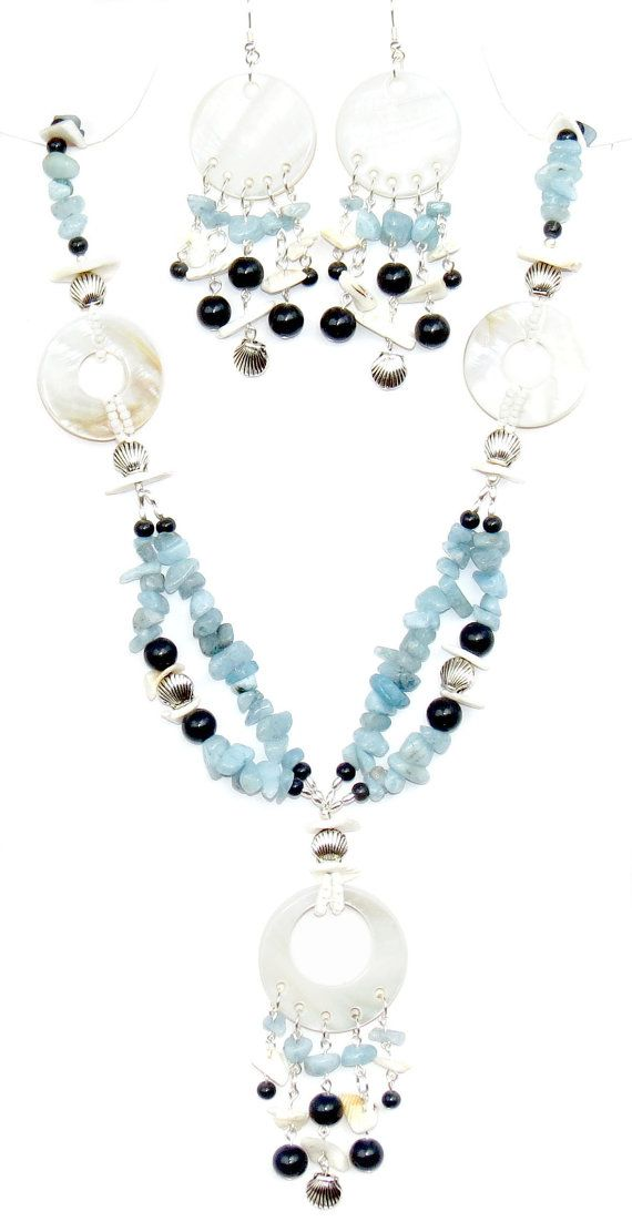Aquamarine and Mother of Pearl Necklace and by MJewelryStore