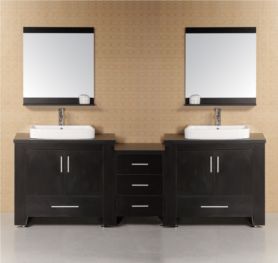 Sagehill Designs 96 Double Bathroom Vanity With Make Up Station