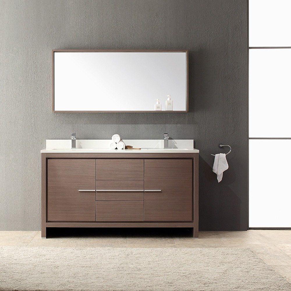 Fresca Allier 60 Modern Double Sink Bathroom Vanity W Mirror