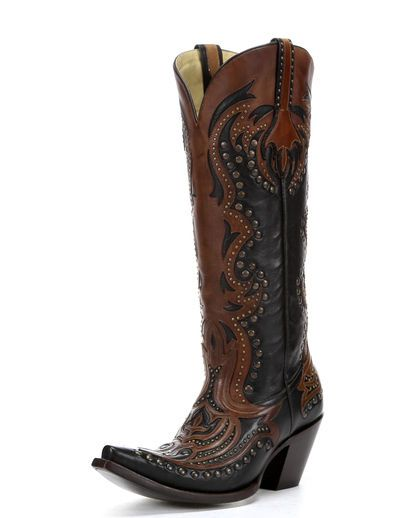 Women's Black/Cognac Laser Inlay and Studs Boots - G1072