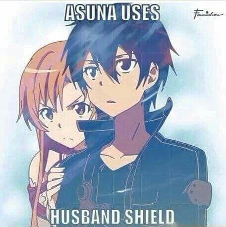 Asuna uses husband shield, funny, text, Asuna, Kirito, couple; Sword Art Online