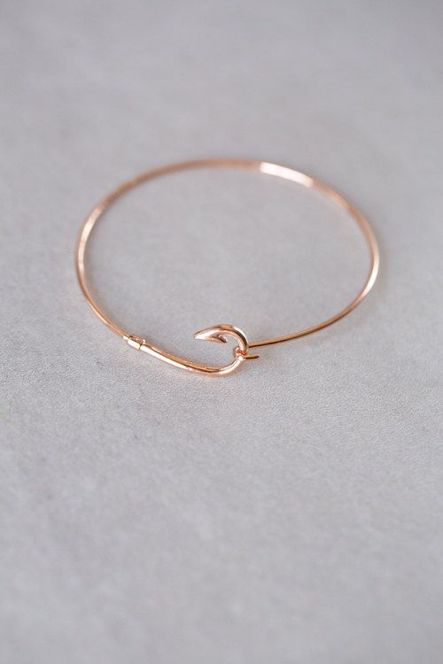 Unique Fish Hook Clasp Bracelets In Gold Rose And Silver
