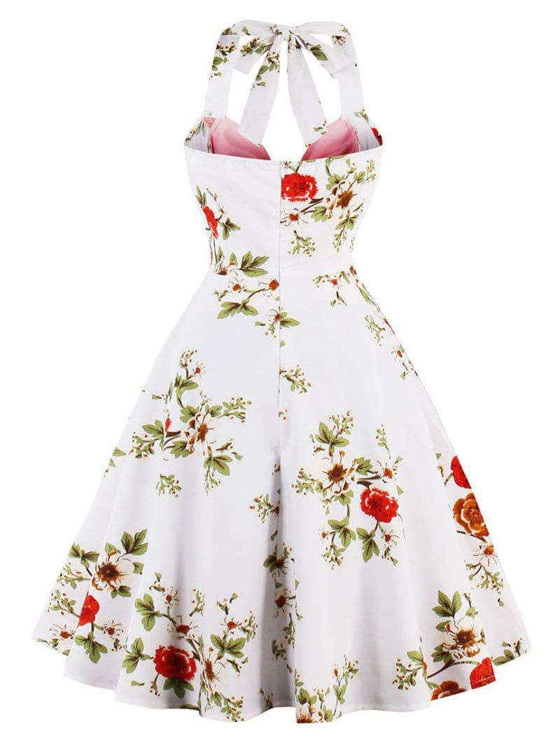 35a41bc198 Vintage Halter Floral Print Pin Up Dress - PINK M