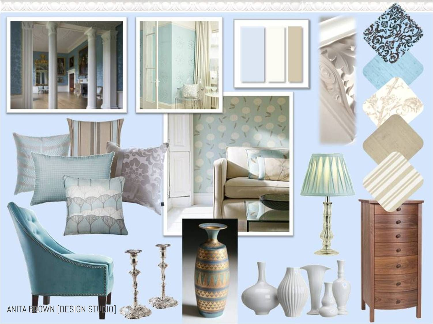 For This Historical Colour Scheme I Have Taken Inspiration From The Georgian Era And Used A Palette Of Powder Blue Soft Chalky White An Earthy
