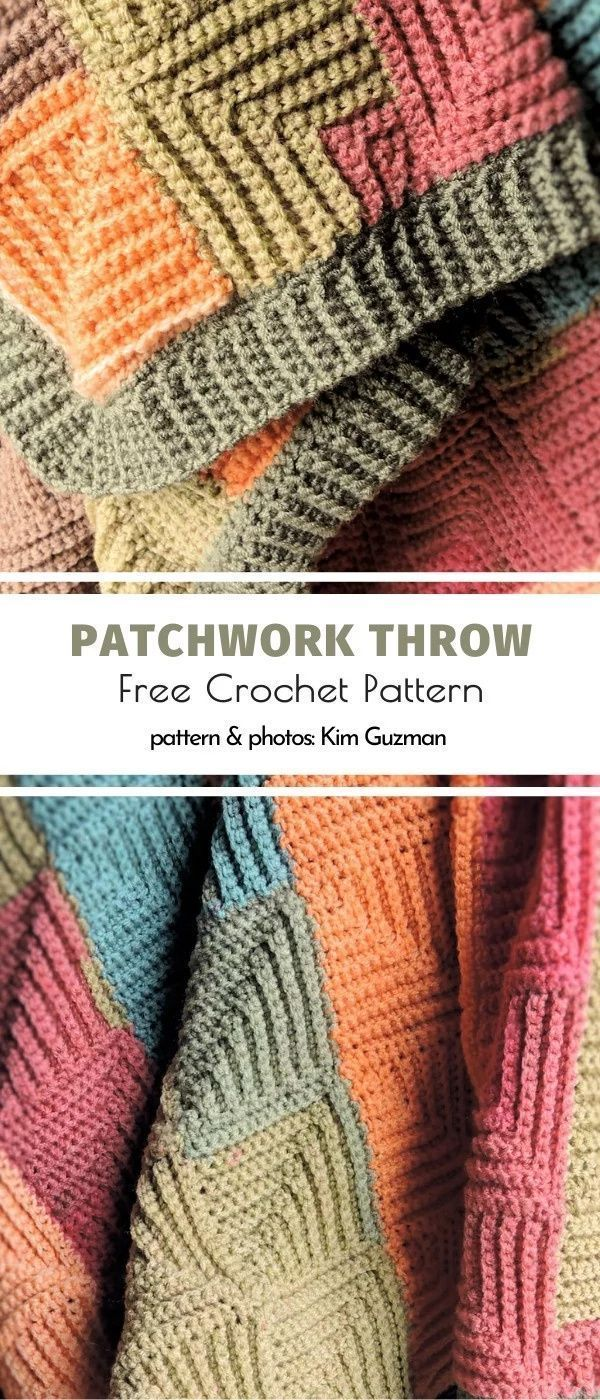 Patchwork Throw Free Crochet Pattern, #Crochet #Free #Patchwork #Pattern #Throw…