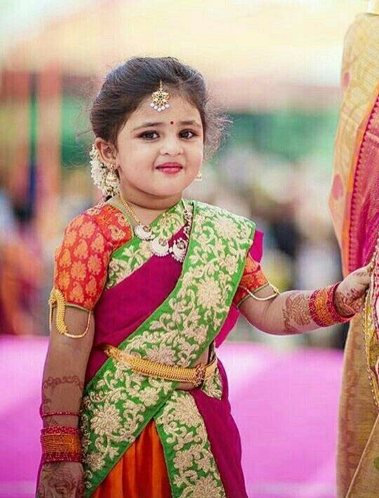 Cute Little Girl In Half Saree Kids In Indian Wear Pinterest