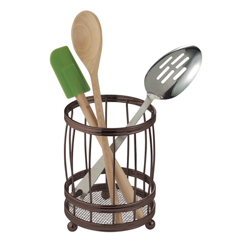 Interdesign 51671 York Kitchen Counter Utensil Holder Caddie Bronze Utensil Holder Kitchen Countertop Storage Utensil