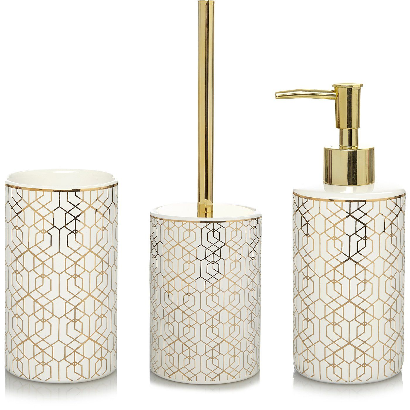 Buy Gold Geometric Bathroom Accessories Range from our Bathroom