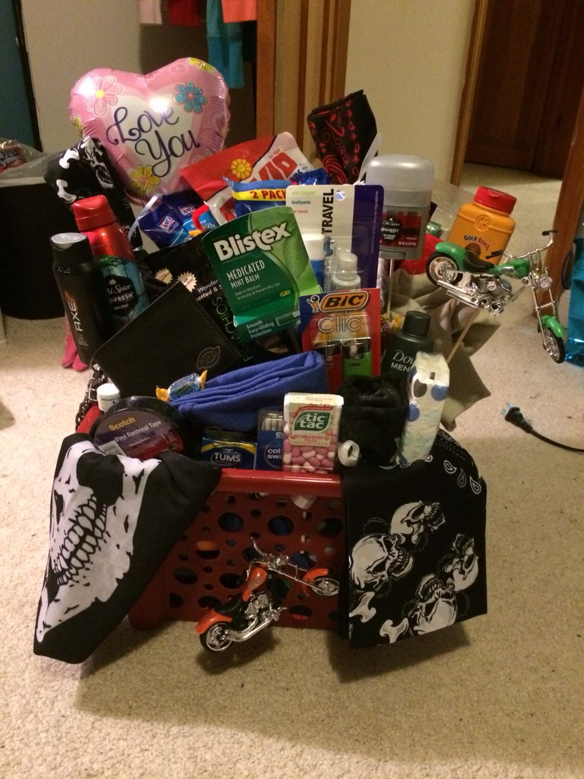 Gift Basket For My Boyfriend Going On A Motorcycle Road