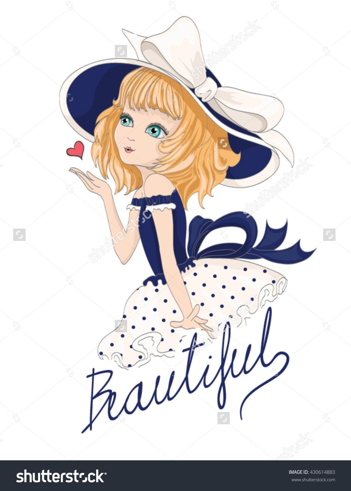 Uncategorized Girl Pictures To Print beautiful romantic girl t shirt print vector cartoon character design
