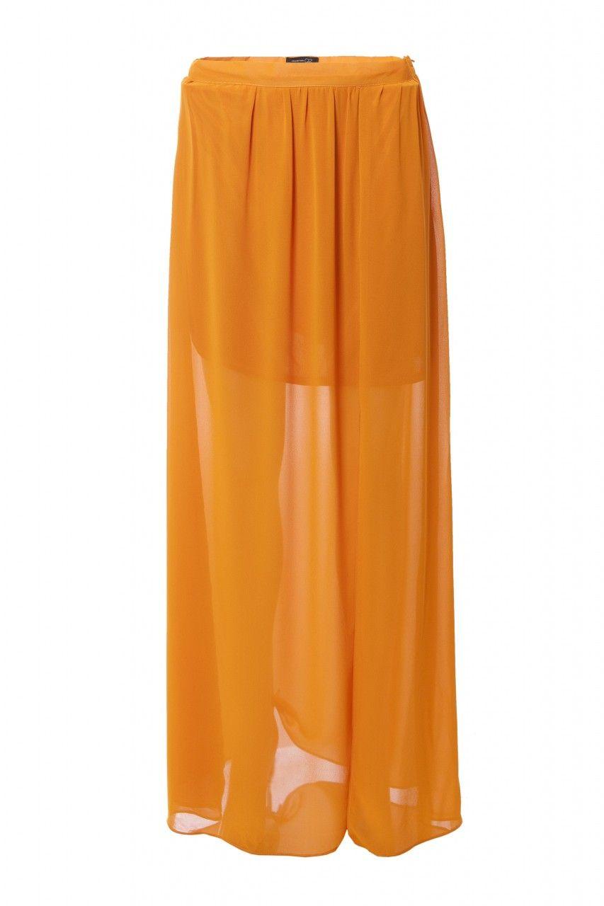65faafe09 Falda larga de tejido gasa, con forro corto debajo, abierta casi en ...