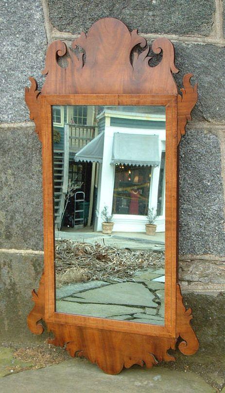 American Chippendale Period Inlaid Mahogany Mirror Circa