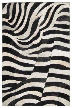 Zebra Print Natural Modern Cowhide Rug