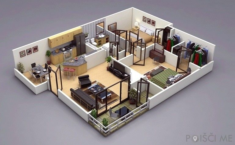 3 Bedroom House Floor Plan 3d Amazing Architecture Magazine House Floor Plans 3d House Plans Floor Plan Design