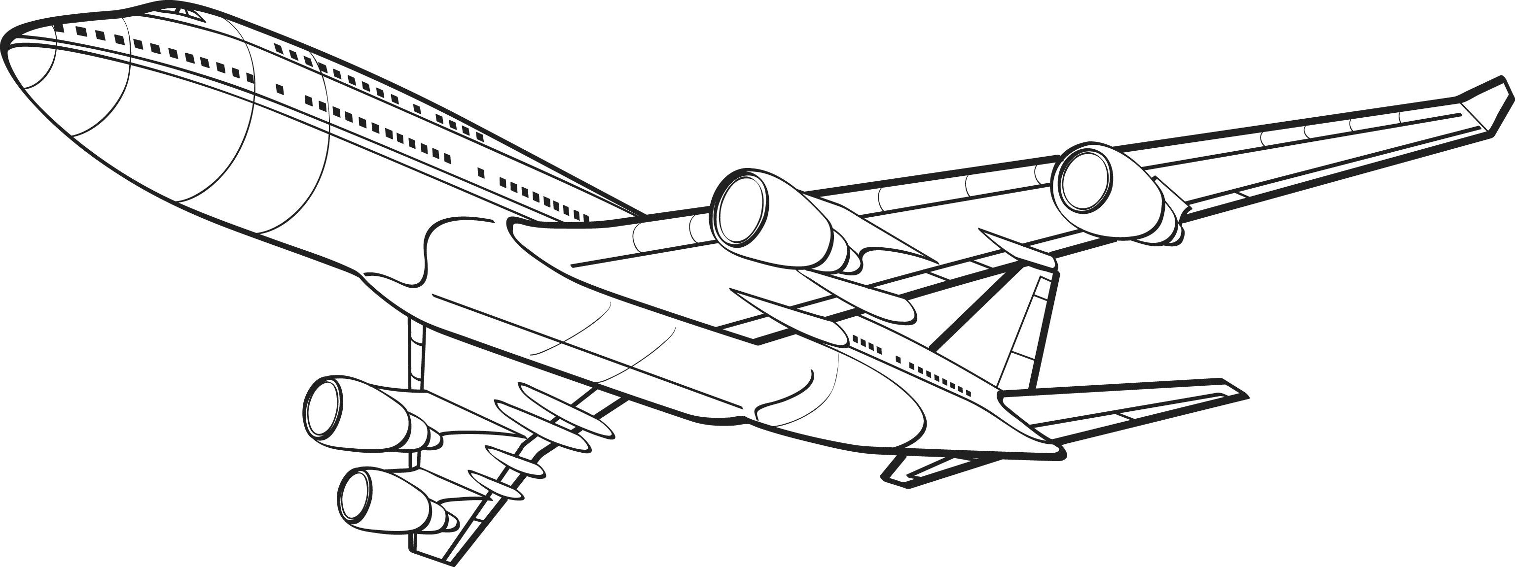 Boing 747 bottom coloring page