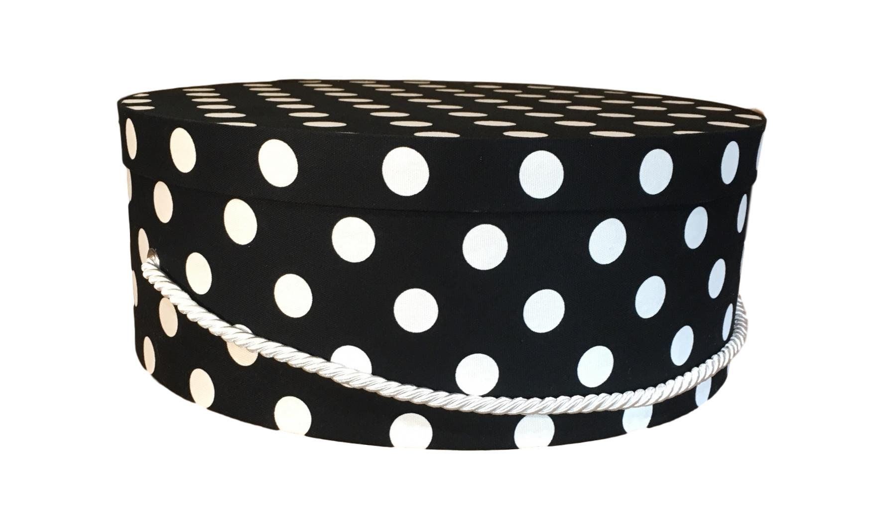 Large Hat Box In Black And White Polka Dot Decorative Fabric Covered Hat Boxes Round Storage Box Keepsake Boxes With Lid N Hat Box Fabric Decor Luxury Hats