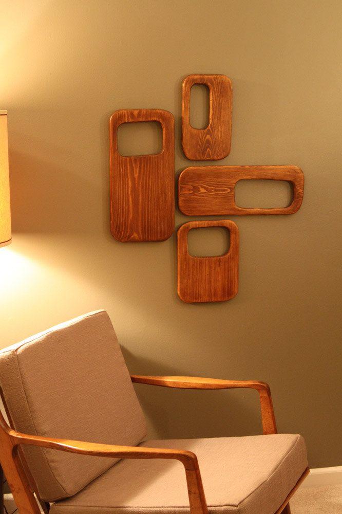 Mid Centurydanish Modern 4 Piece Wood Wall Art Sculpture Modern