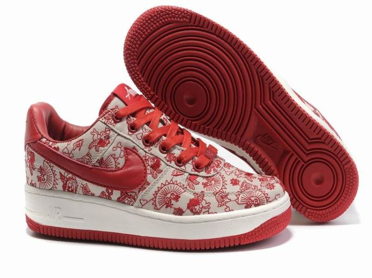UK sale Men Nike Air Force 1 25Th Low-Top Red White Priting Shoes