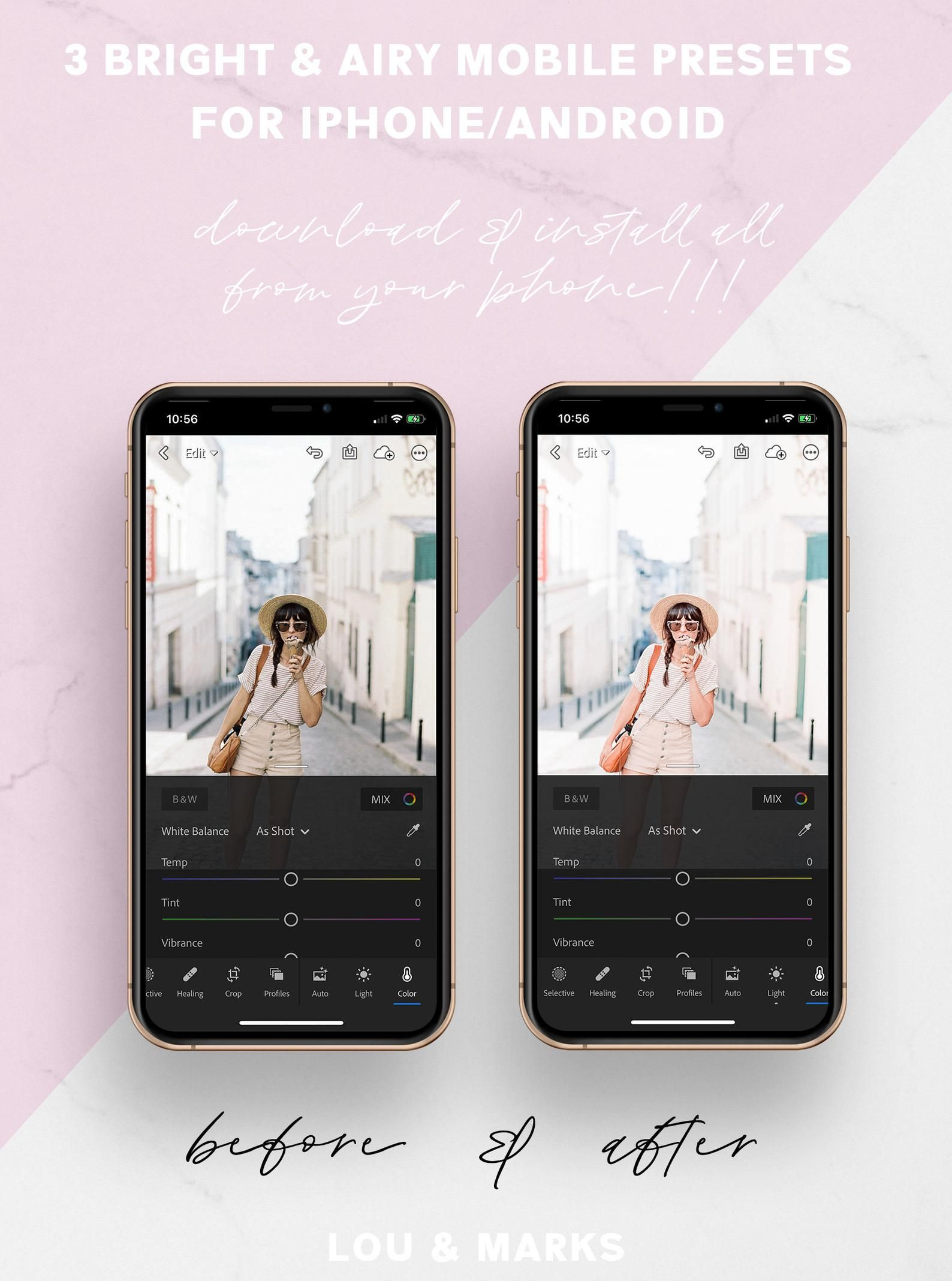 Lightroom Presets Mobile - BRIGHT & AIRY Preset - White