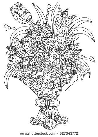 Bouquet Of Flowers Coloring Book For Adults Raster Illustration Flower Anti Stress Adult Daisy Zentangle Style Lily