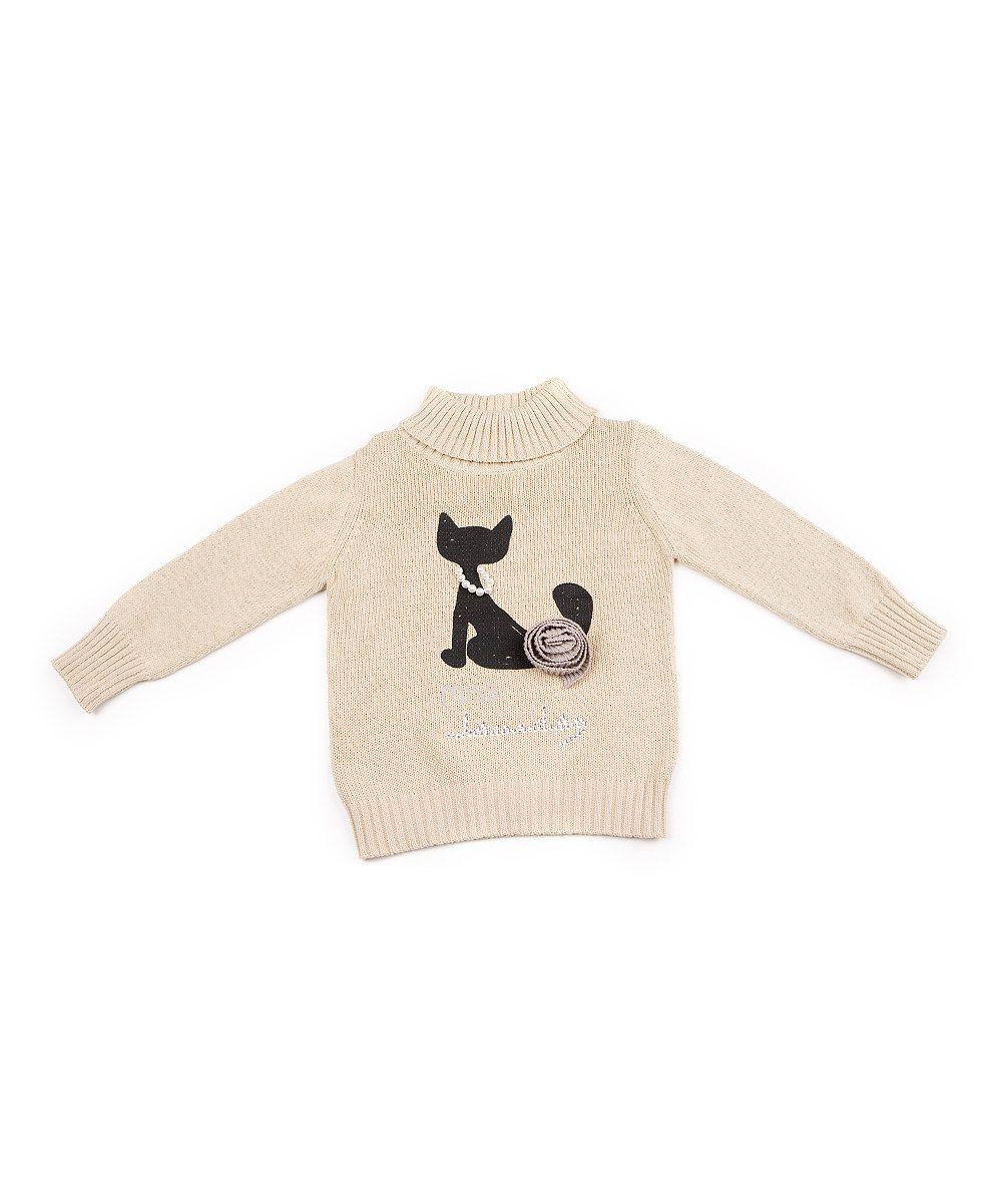 e24e41080b3 Cream Cat Polo-Neck Jumper - Toddler & Girls by Lourdes | Baby/child ...