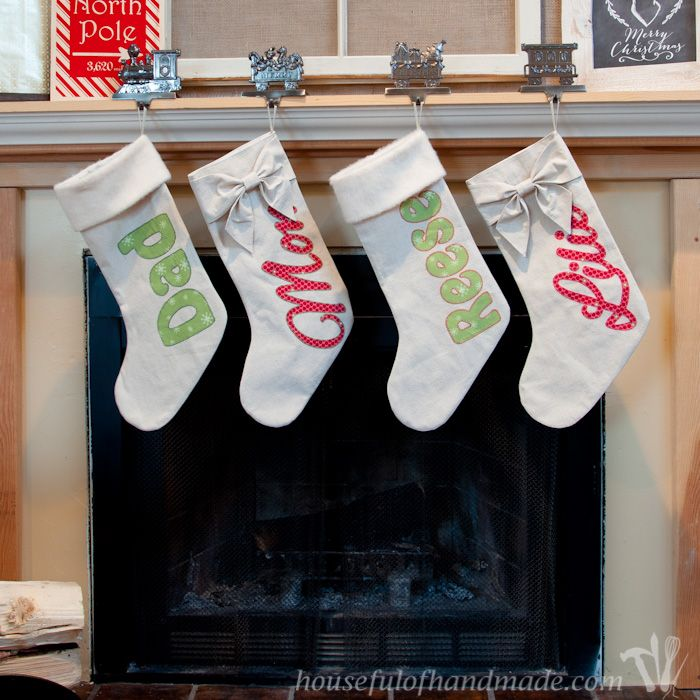DIY Personalized Drop Cloth Christmas Stockings Christmas stocking