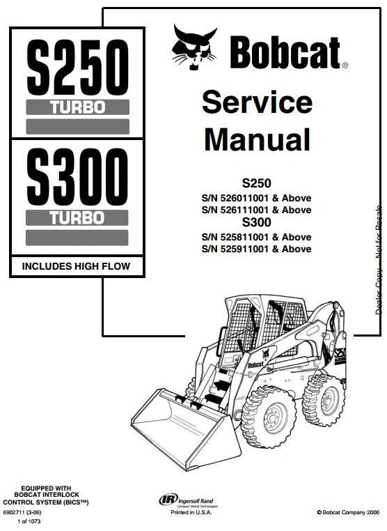 bobcat skid steer loader type s250 s n 526011001 up s300 s n rh pinterest com Bobcat 753 Hydraulic Diagram Bobcat 753 Hydraulic Diagram