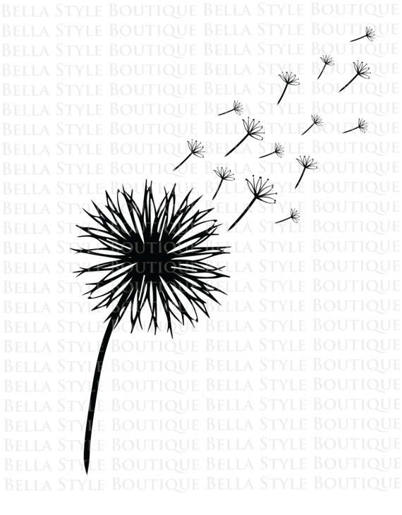 Outline Dandelion Blowing Cricut