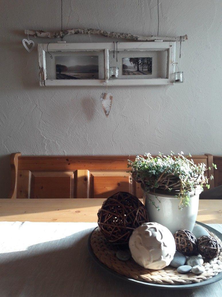 Altes Fenster Deko Im Eßzimmer   Winter. Wandfarbe Neu In Sandbeige