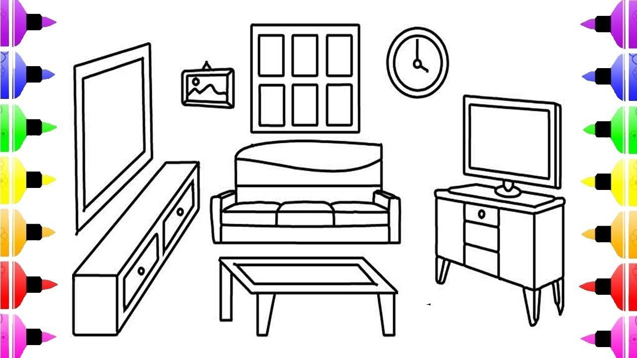 How to Draw Livingroom Coloring Pages For Kids and Learn ...