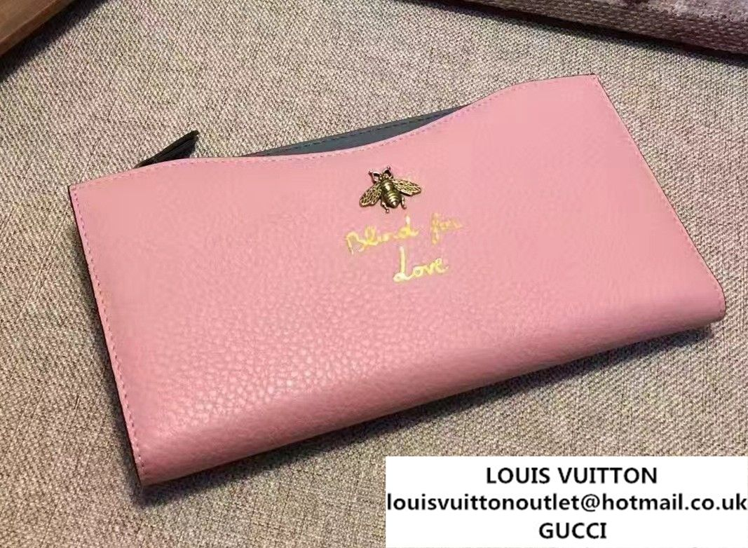 30aec5243b8 Gucci Animalier Bee And Blind For Love Travel Document Case 456683 Pink Gray  2017
